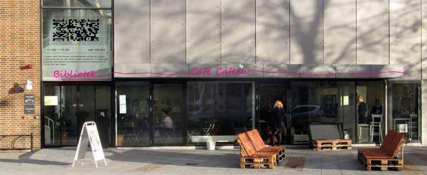 Biblioteket og Caféen set udefra