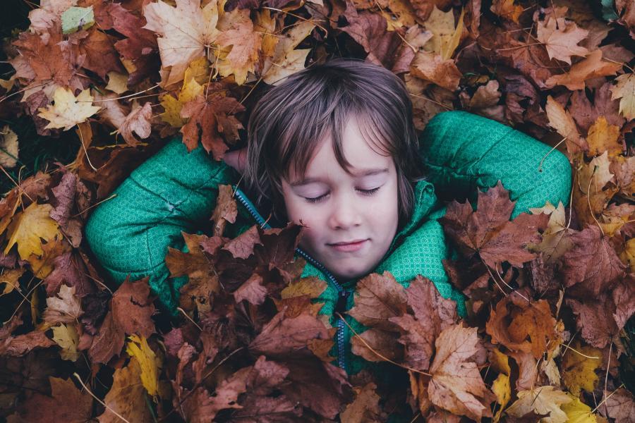 Barn ligger i en bunke efterårsblade
