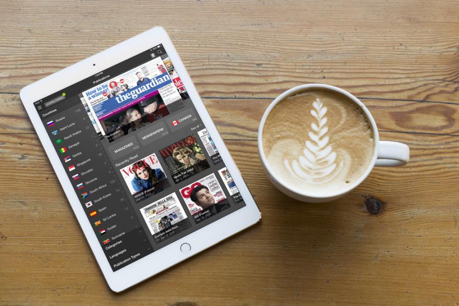 Magasiner fra RB Digital Magazines og PressReader kan læses på tablet.